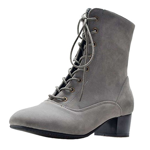 with with Boots Heel Women Grey SJJH Ankle Lace and Boots Ankle Large Mini Toe Low Square Chunky up WSfSt