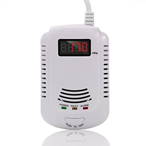 [ALEMON Human Voice Prompt Gas Detector Alarm Combustible Gas Concentration Display with Battery Backup for Home] (Gas Detector)