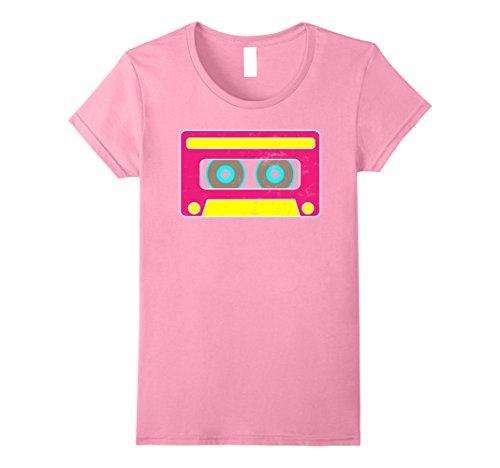 Womens Neon Cassette Tape 1980s Pop Mix Tape Halloween T Shirt Small (Halloween Mixtape)