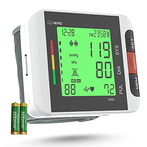 Wrist Blood Pressure Monitor[2020 Update], Annsky Automatic Home Use Wrist BP Monitor Machine with Backlight LCD Display Electronic Health Monitor Irregular Heartbeat Monitors with 2 User 198 Memories