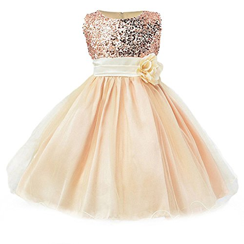 IIYoYo Flower Girl Dress Christmas First Communion Reception Formal Princess Dresses Tulle Lace Sequins Ball Gown (Gold, 140)