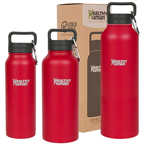 Healthy Human Classic Collection Stainless Steel Vacuum Insulated Water Bottle | Keeps Cold 24 Hours, Hot 12 Hours | Double Walled Water Bottle | 40 oz Red Hot