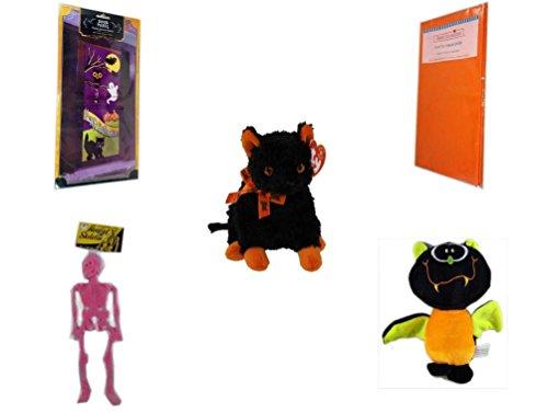 Halloween Fun Gift Bundle [5 piece] - Happy Halloween Door Panel - Bright Pumpkin Orange Plastic Table Cover Halloween - Ty Beanie Baby