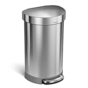 simplehuman 45 Liter/12 Gallon Stainless Steel Semi-Round Kitchen Step Trash Can with Liner Rim, Brushed Stainless Steel