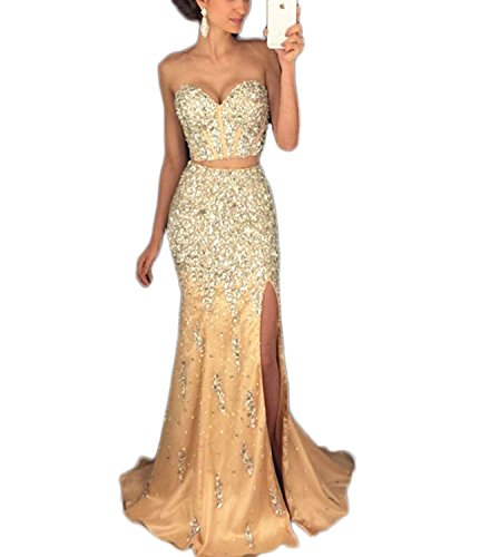 TbDesses 2018 Women's Strapless Long Two Pieces Beaded Prom Party Dresses with Slit