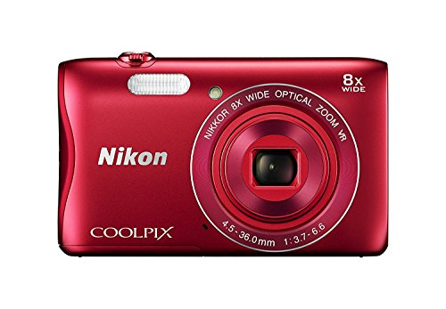 Nikon COOLPIX S3700 20.1 MP Wi-Fi Digital Camera with 8X Optical Zoom and 720P Video (Red)