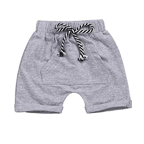 BeautyVan Toddler Baby Boys Girls Casual Pocket Elastic Waistband Beach Shorts Summer Pants (0-6 Months, Grey)