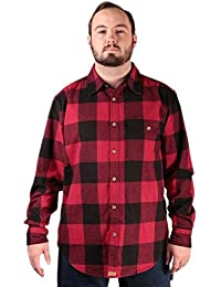 Smith's Workwear Men's Buffalo Plaid Flannel Button Down Brushed Twill Shirt