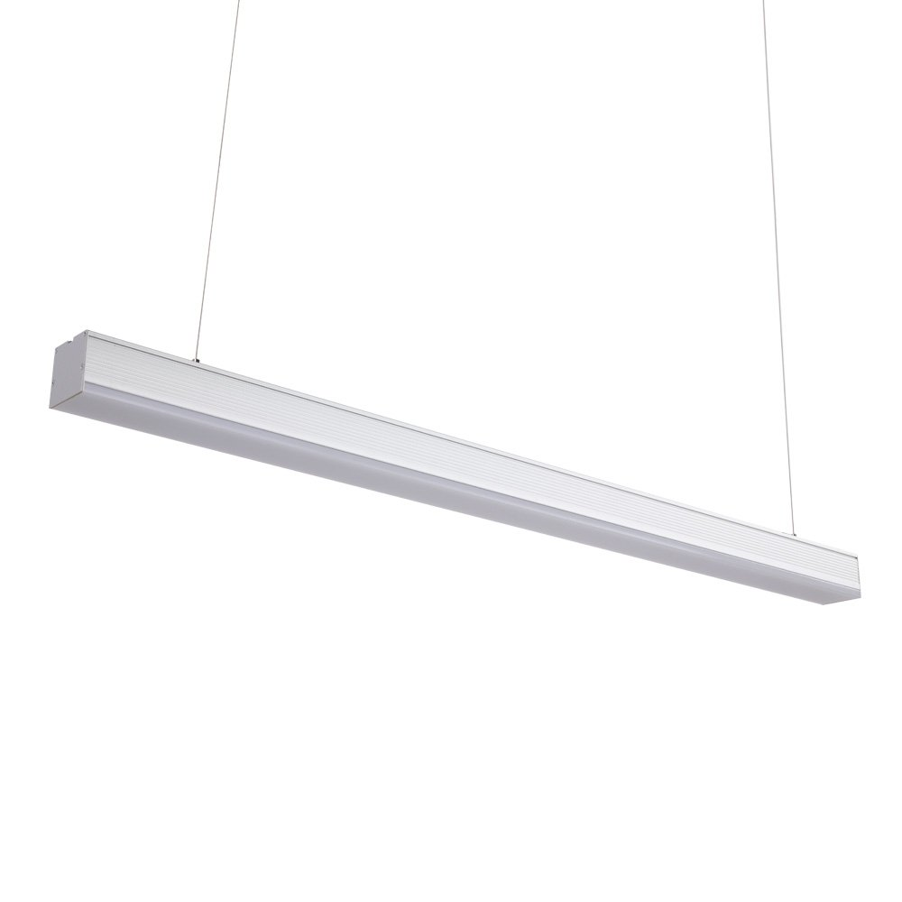 LED Linear Lighting - 4ft Chandelier Lighting Acrylic Aluminum 40W,4000K,with Adjustable Hanging Light, Silver ALHAKIN