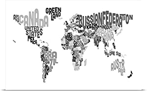 Amazon michael tompsett poster print entitled country names michael tompsett poster print entitled country names world map black and white gumiabroncs Images