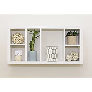 corri 6 divided cubby wood wall shelf white
