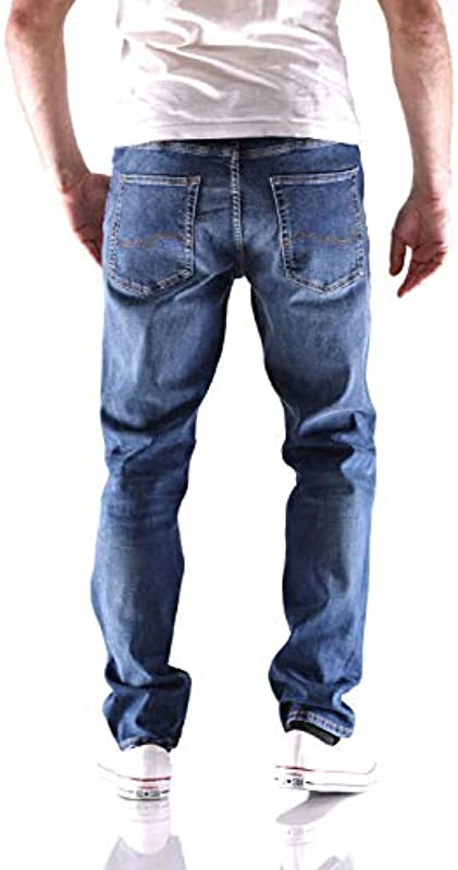 JACK & JONES Męskie Slim/Straight Fit Jeans Tim Original AGI 005 3630Blue Denim: Odzież