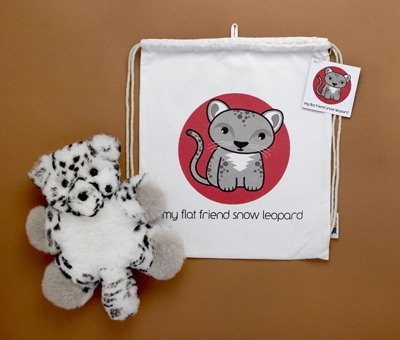 Flat Friends SLEOLD Snow Leopard Lambskin Soft Toy & Drawstring Bag
