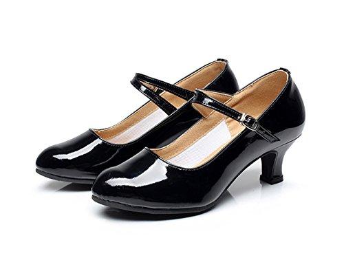 Nakokou Femmes Chaussures De Danse Latine Salsa Tango Pratique Danse De Salon Chaussures De Plein Air Boucle Cuban Talon Bourgogne Noir Rouge Argent Or Noir
