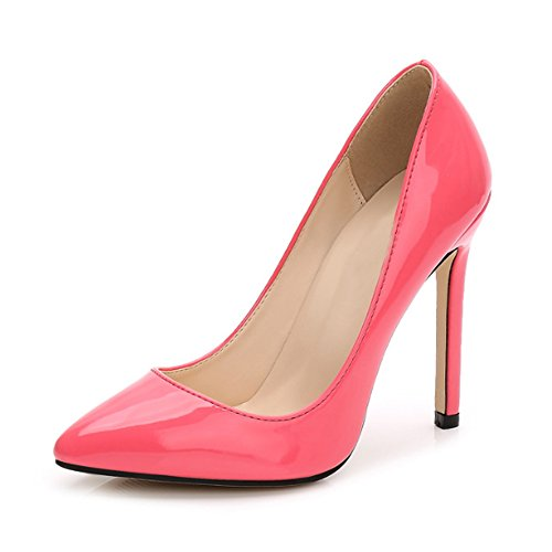 OCHENTA Women's Patent Leather Slip on Stiletto Dress Pump Peach Red Tag 45-UK 9.5