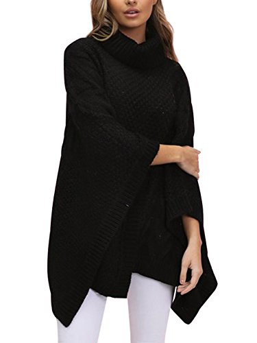 BerryGo Women's Chic Turtleneck Batwing Sleeve Asymmetric Knitted Poncho Pullovers Sweater Black,One Size