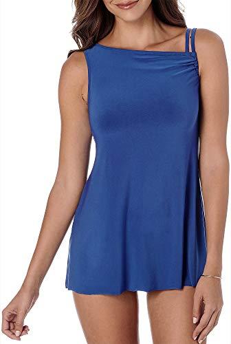 (Trimshaper Solids Briana Tie Side Slimming One Piece Swimsuit (6520000) 14/Cobalt/Black)