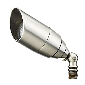 Best Quality Lighting LV08SLV Brass Constructed Outdoor Up Light with Clear Glass Shade, Stainless Steel Finish