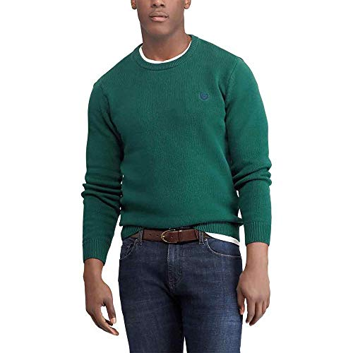 Chaps Men's Classic Fit Cotton Crewneck Sweater, DEEP Green, XXL
