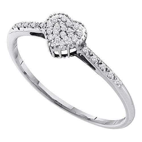 (Mia Diamonds 14kt White Gold Womens Round Diamond Heart Ring (.07cttw) (I2-I3)- Size -8)