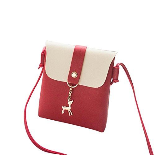 Gusspower Bolsa de mini de cuero de PU, Patrón de Napa bolso de hombro de ciervo de color bolso de Messenger bolso de teléfono móvil Cartera Bolsa Funda protectora (Rosado) Rojo