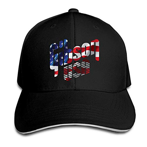 Unisex Clean Up Adjustable Hat, Adult Adjustable Hat Gibson USA Flag Cotton Baseball Cap Dad-Hat Black