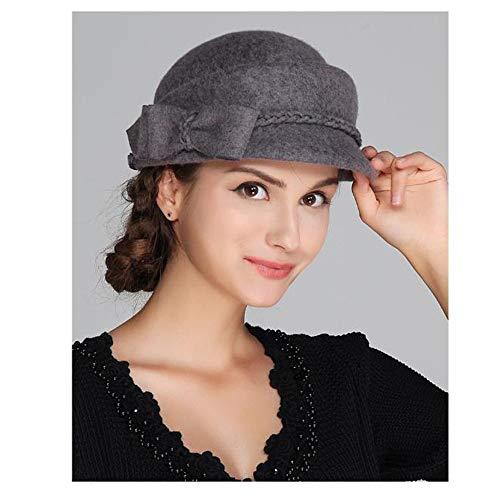 Gray Sombrero Invierno De Moda Boina Completo Las Fieltro Cálido Mujeres Lana 67ZwZxTgq