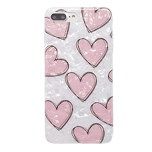 - iPhone 8 Plus / 7 Plus Cute Case for Girls, YeLoveHaw Glitter Pearly-lustre Translucent Shell Texture with Love-hearts Pattern Phone Case [Flexible, Slim Fit, Full Protective] for 7Plus / 8Plus (Pink)