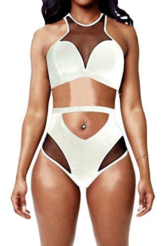 - Pink Queen Women's Back Zip Mesh Spicy High-Waist Racer Bikini Swimwear White S
