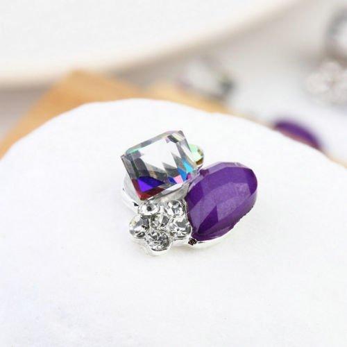 Alicenter(TM) 10pcs 3D Alloy Purple Glitter Rhinestone Nail Art Tips Decoration Jewelry DIY ()