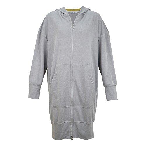 Damen Sweatshirt lang - goldmarie Sweatjacke mit Kapuze - hellgrau Gr. M / L