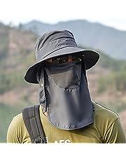Tomshin Chapéu de sol Proteção UV Aba larga pescoço flap tampa facial capa multifuncional para caminhadas e pesca na praia