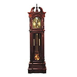 Major-Q 9001431 77 H Traditional Style Light Gold Analog Face Walnut Finish Grandfather Floor Clock