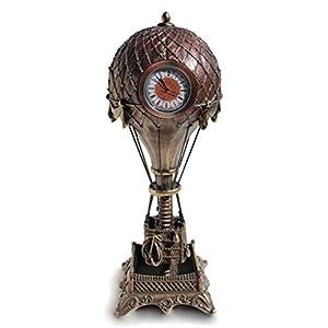 VERONESE Steampunk Hot Air Balloon with Clock Statue Sculpture Cold Cast Bronze