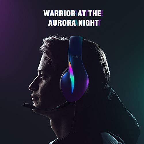 PeohZarr Gaming Headset Xbox One Headset PS4 Headset Aurora Series with Flowing LED Lights 7.1 Surround Sound Crystal Clear Mic Comfy Earmuffs, Headset for Xbox One(Adapter Not Included), PS4, PS5, PC