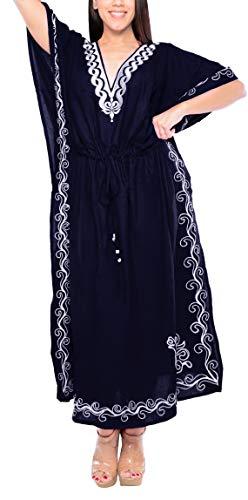 LA LEELA Designer lunga spiaggia abito da sera rayon costumi da bagno costume da bagno delle donne del kimono coprire kaftan Blu Navy_n701