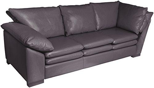 Omnia Leather Fargo Left Arm 3 Cushion Sofa with Right Return in Leather, Standard No Nail Head, Guanaco Granite