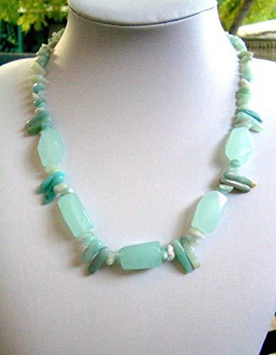 Aqua Blue Genuine AQUA CHALCEDONY and AMAZONITE Gemstone, All Blue Necklace.