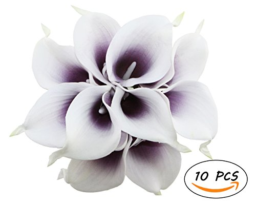 Apol Bunch of 10 Artificial Picasso Calla Lily Flower Bouquet for Wedding Party Home Garden Restaurant Decoration Valentine Gifts (White Purple)