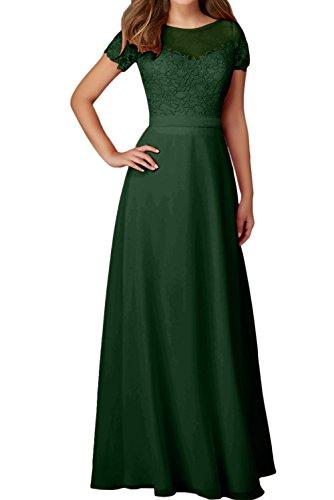 Ivydressing Aermeln Festkleider Damen Elegant Abendkleider Dunkelgruen Mit Ballkleid Rundkragen Spitze a8arvIq