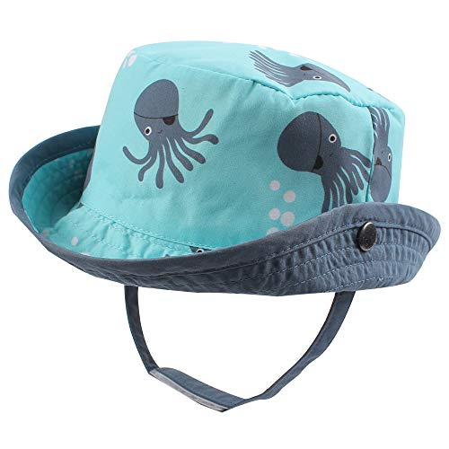 RAOEXI Sun Protection Hat for Toddler Boys Girls Wide Brim Summer Play Hat Animal Baby Bucket Hat with Chin Strap (Octopus, S(3-6 M))