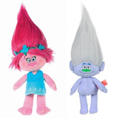88047c384 Trolls - Pack 2 Trolls peluches princesa Poppy 47cm (pelo rosa) +  Guy-Diamond 47cm (canoso) - Calidad super soft  Amazon.es  Juguetes y juegos