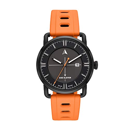 Mens Dial Orange - One Eleven Men's SW1 Solar Quartz Stainless Steel and Silicone Casual Watch, Color: Black, Orange (Model: CBOE2008)
