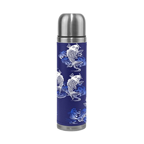 Sunlome Japanese Style Carp Pattern Double Wall Vacuum Cup Insulated Stainless Steel Water Bottle Travel Mug Thermos Coffee Cup 17 oz by Sunlome