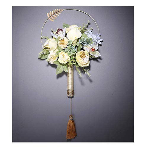 Bride Wedding Champagne Classical Chinese Style Simulation Rose Holding Flowers Hand Fan soho Creative Photography Props