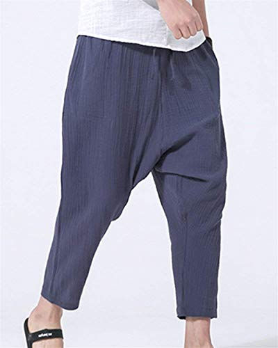 Crystallly De Simple Carotte Marine Bouffant Pantalon Hommes En Style Cordon Pantalons Lin Décontracté Sarouel Printemps Automne Bloomers Pour Avec rrqg8nxZw
