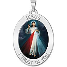 Divine Mercy Oval Religious Medal Color - 2/3 X 3/4 Inch Size of Nickel, Sterling Silver