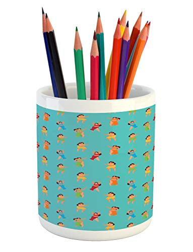 Ambesonne Island Party Pencil Pen Holder, Hula Dancers Hawaiian Woman Exotic Summer Town Culture Girls Hippie Life Print, Printed Ceramic Pencil Pen Holder for Desk Office Accessory, Multicolor ()