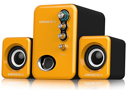 Computer Speakers with Subwoofer, Compact USB Powered 2.1 Stereo- Orange EARISE TS by Earise
