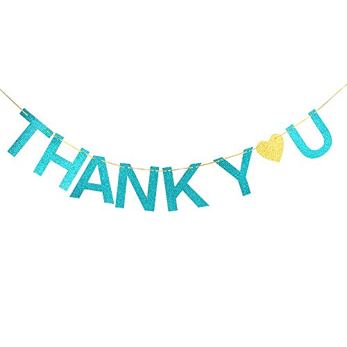 Thank You Banner Engaged,Bridal Shower, Father's Day, Mother's Day,Wedding,Anniversary Party Decoration Supplies(Blue -